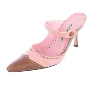 Manolo Pink and Brown Mules